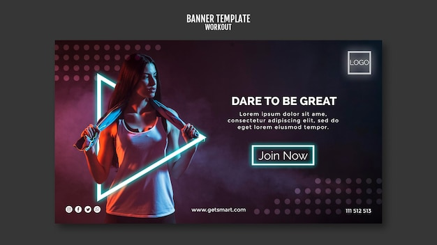 Workout concept banner template