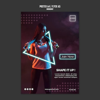 Workout concept flyer template