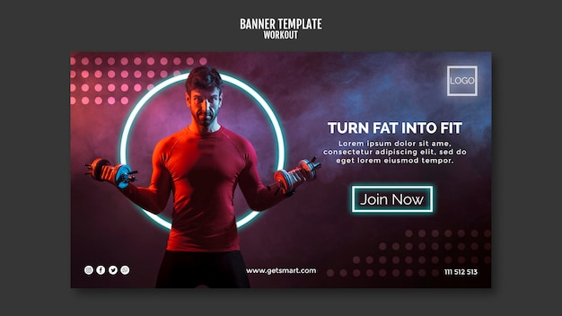 Workout concept horizontal banner template
