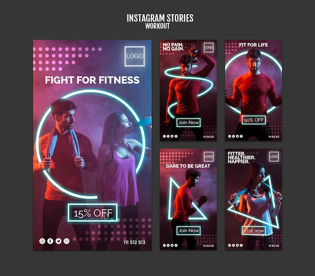 Workout concept instagram stories