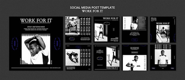 Workout for it social media post template