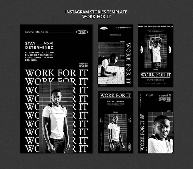 Workout for it social media stories template