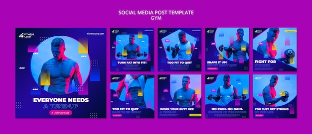 Workout social media posts template with photo
