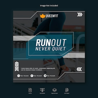 Workout sport social media banner instagram post or square flyer template