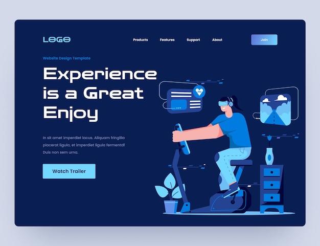 Велосипед для тренировок с шаблоном веб-сайта виртуальной реальности