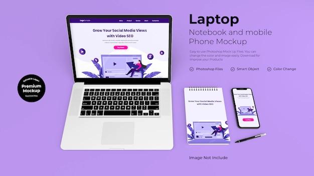 職場のラップトップとノートブックのモックアップ