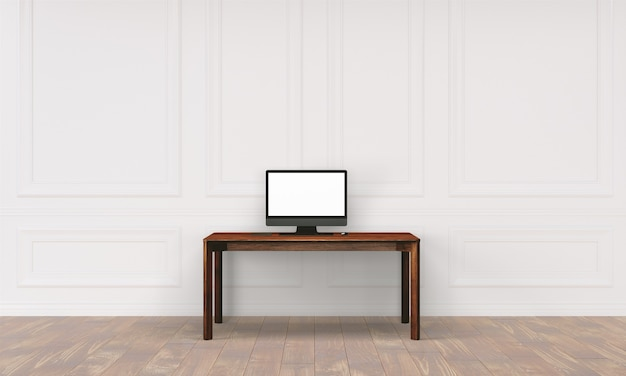 Workspace desk with wall in home interior Premium Psd