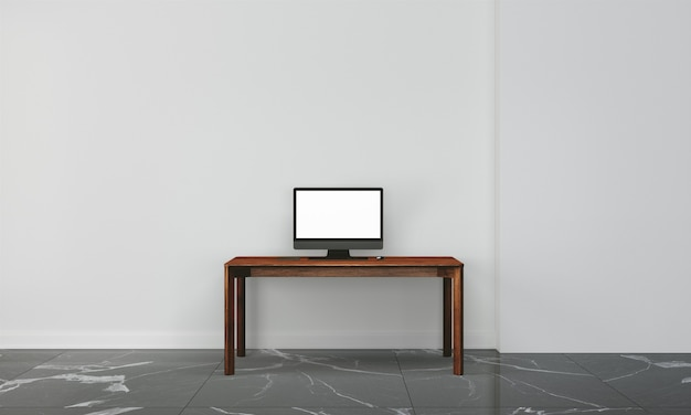 Workspace desk with wall in home interior