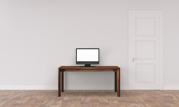 家の内部の壁が付いているワークスペースの机