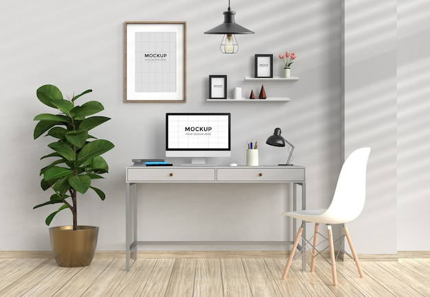 Workspace in home interior with computer and frames mockup