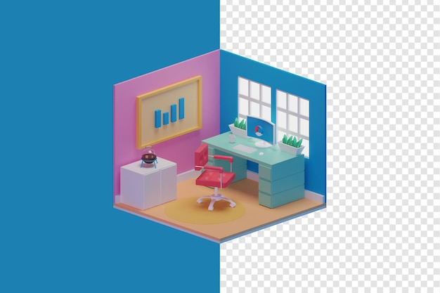 작업 공간 그림 아이소 메트릭 스타일 3d 렌더링 프리미엄 PSD 파일