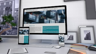 Workspace mockup with computer