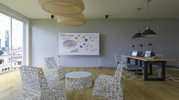 Workspace mockup with laptop and whiteboard