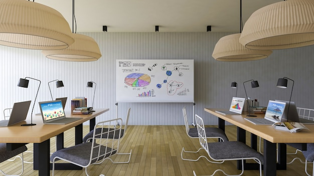 Workspace mockup with laptops and whiteboard