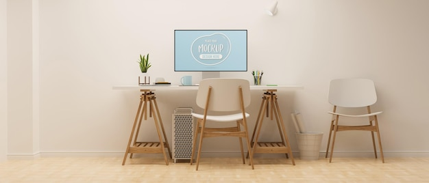 Workspace with computer mockup