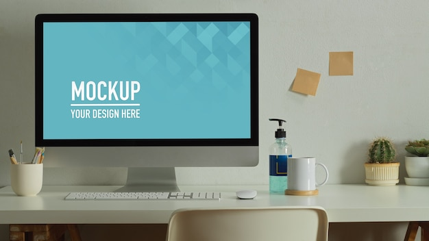 Workspace with desktop mockup, books and stationery