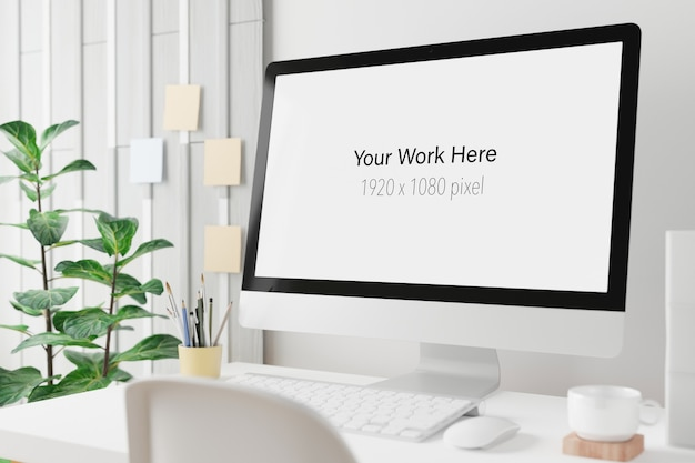 Workspace with mockup screen of laptop computer in 3d rendering