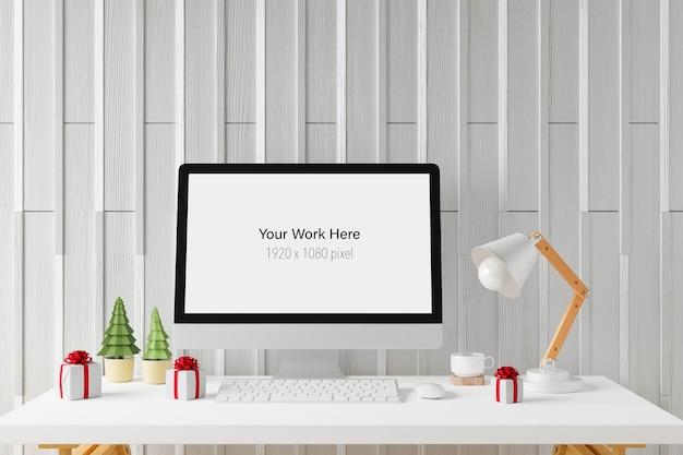 Рабочее пространство с макетом экрана портативного компьютера в 3d-рендеринге
