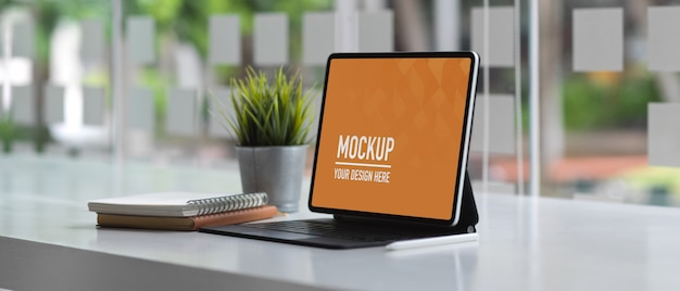 Worktable office with laptop mockup