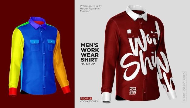 作業服シャツのモックアップ Premium Psd