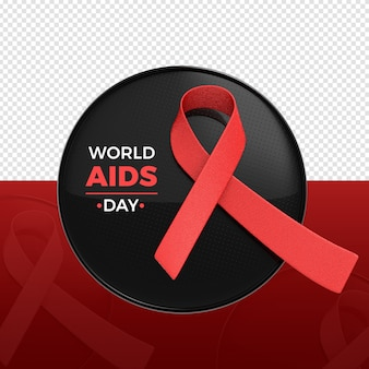 World aids day 3d logo rendering