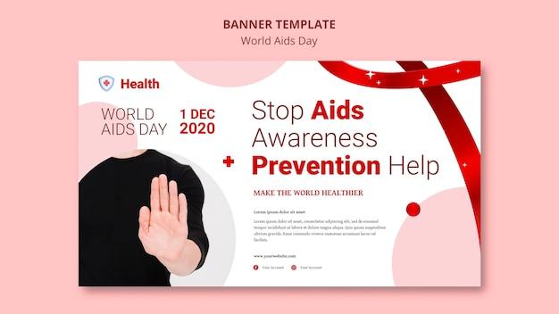 Modello di banner giornata mondiale contro l'aids