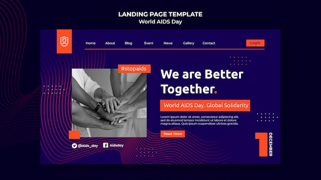 World aids day landing page template with orange details