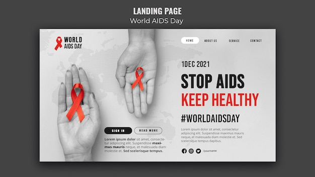 Modello di pagina di destinazione della giornata mondiale dell'aids con nastro rosso