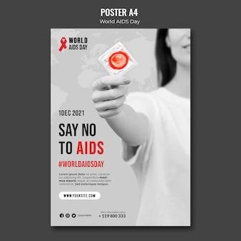 Modello di poster per la giornata mondiale dell'aids con nastro rosso