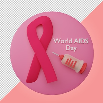 World aids day red ribbon and syringe 3d render logo