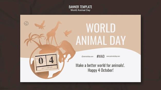 Modello di banner orizzontale per la giornata mondiale degli animali