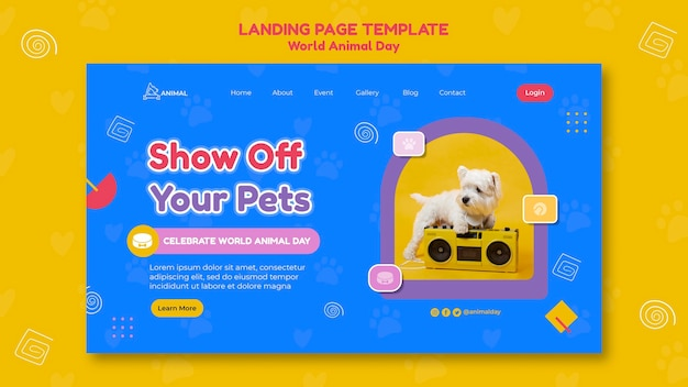 World animal day landing page template