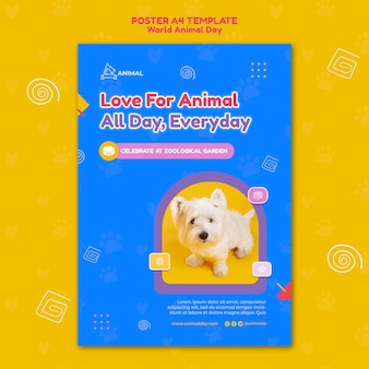World animal day print template