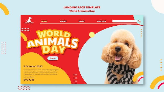 World animals day landing page template