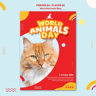 World animals day template flyer