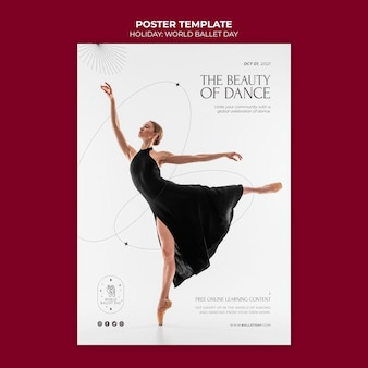 World ballet day poster template