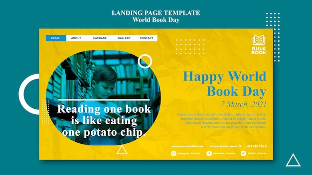 World book day event web template Premium Psd