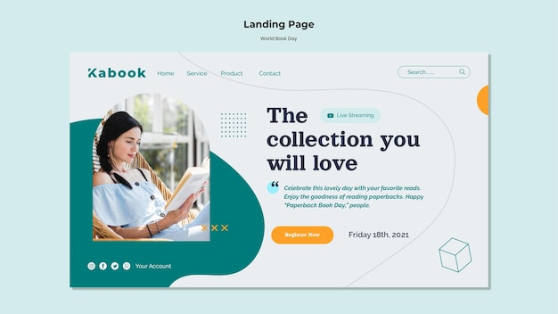 World book day landing page template