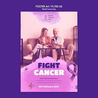World cancer day poster template with ribbon