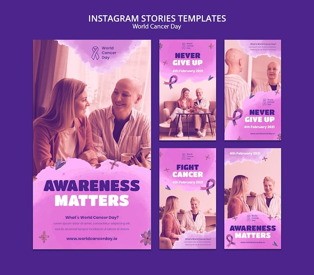 World cancer day social media stories with ribbon