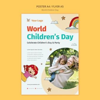 Шаблон плаката всемирного дня защиты детей