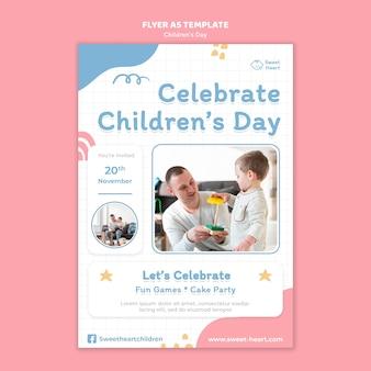 World children's day flyer template