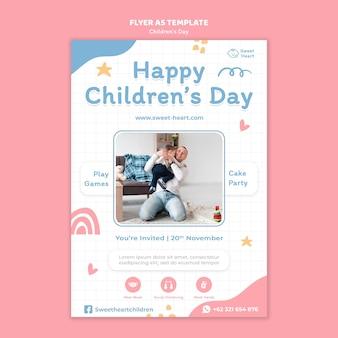 Modello di volantino per la giornata mondiale dei bambini