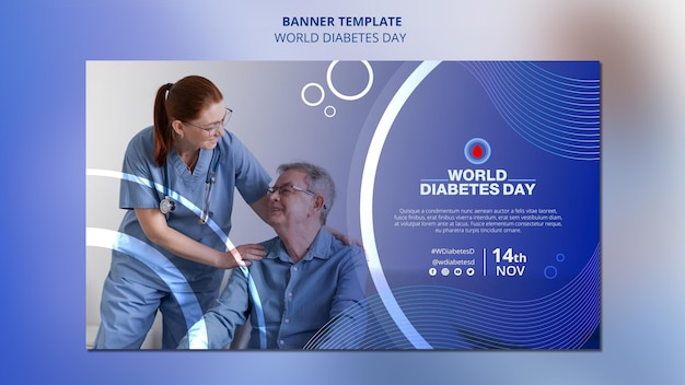 世界糖尿病デー水平バナーテンプレート