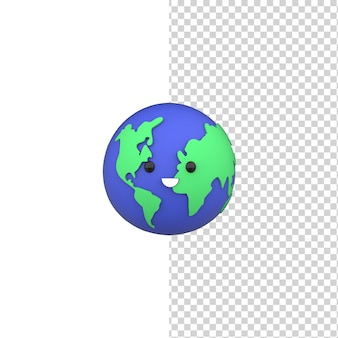 World environment day concept 3d happy cute earth save the planet render model