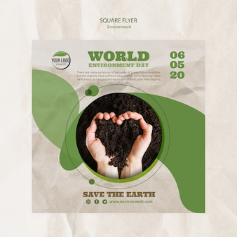 World environment day flyer template with soil in heart shape