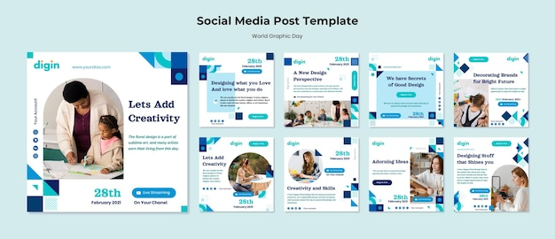 World graphics day instagram posts template