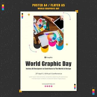 Шаблон плаката всемирного дня графики