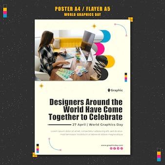 Modello di poster della giornata mondiale della grafica
