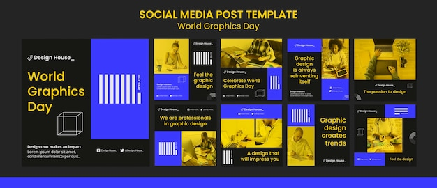 World graphics day social media posts pack